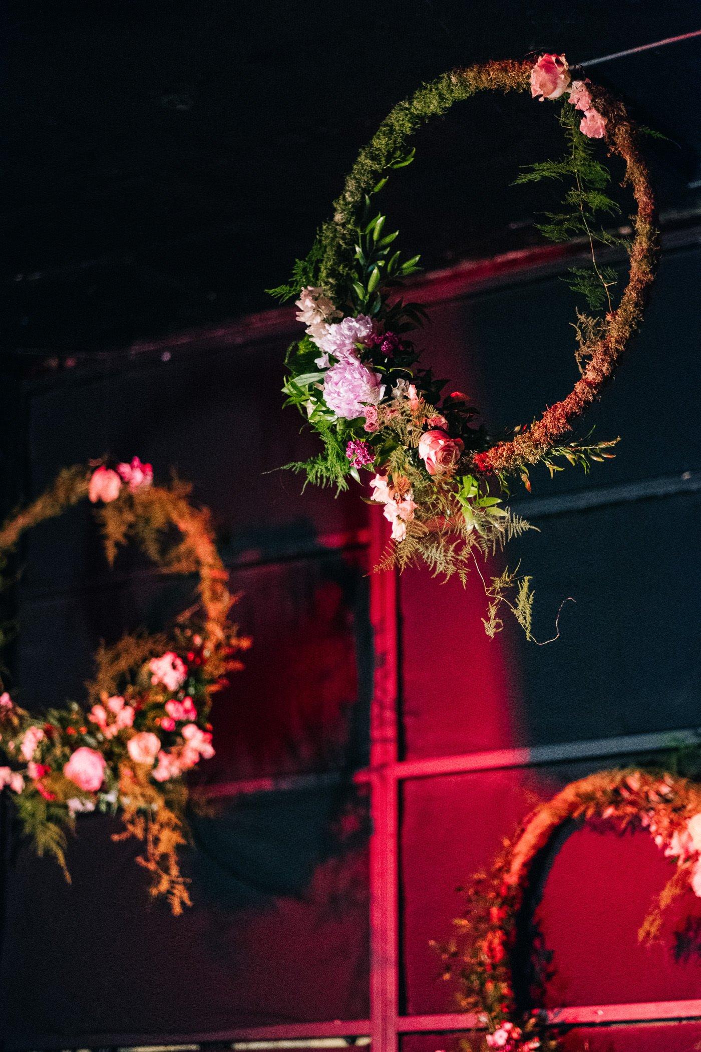 Flower hoops alternative rock venue wedding