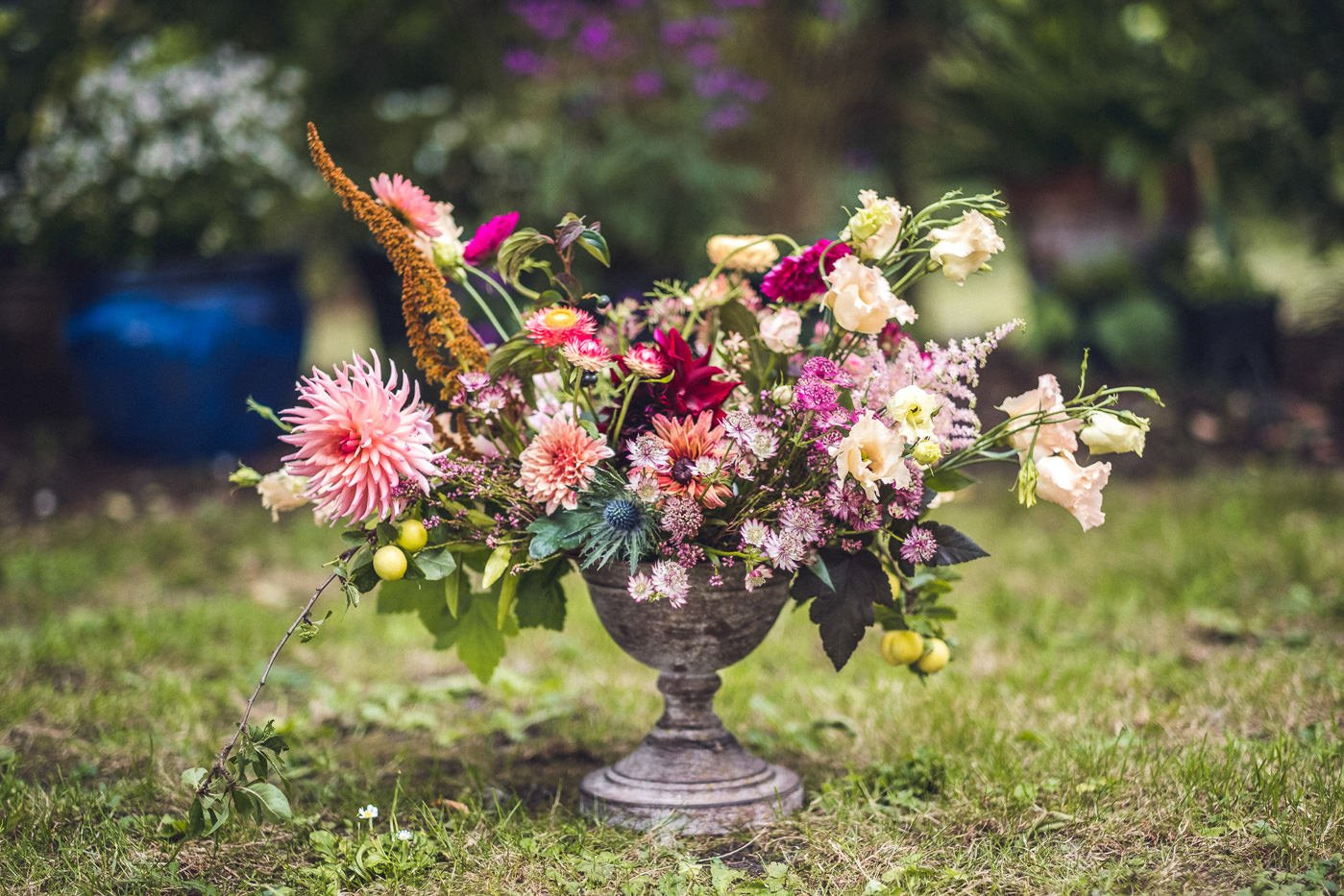 back garden wedding wild florals cambridge