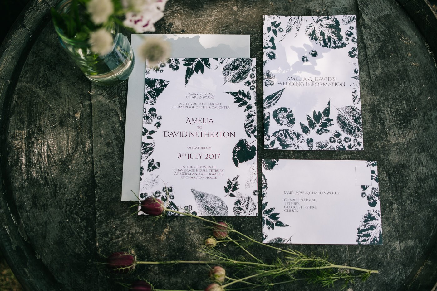graphic wedding stationery for a humanist outdoor wedding