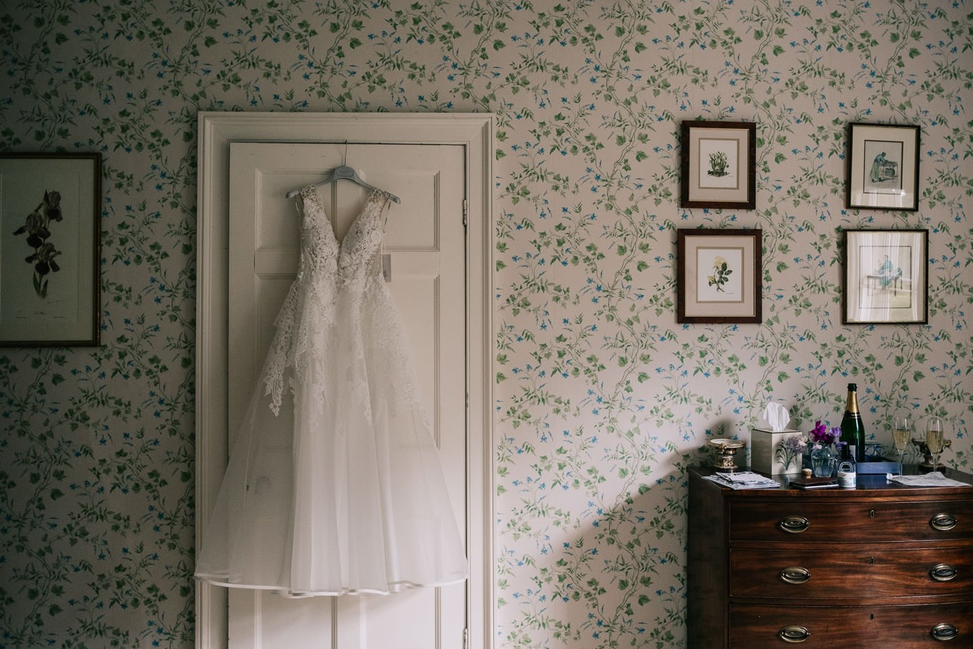 wedding dress hanging up cotswolds wedding photographer