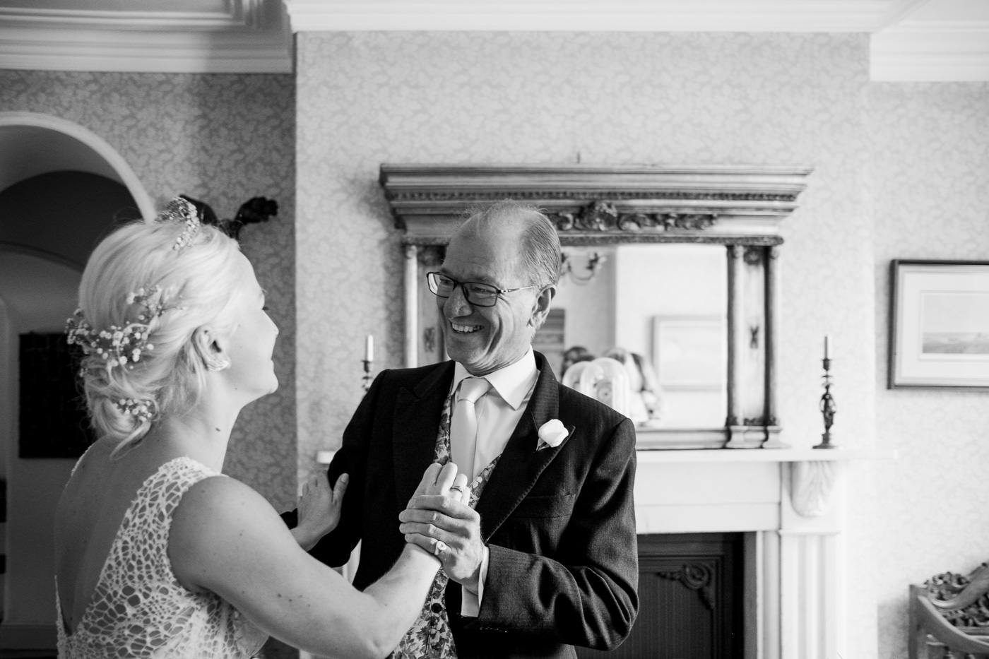 dad seeing bride for first time humanist wedding cotswolds