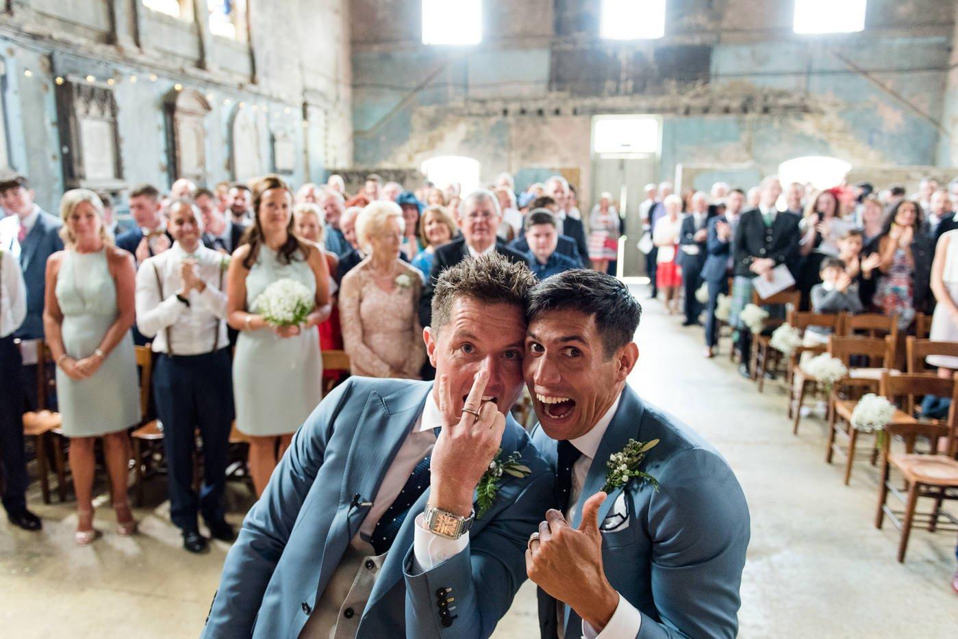 Just married same sex wedding asylum chapel wedding photography