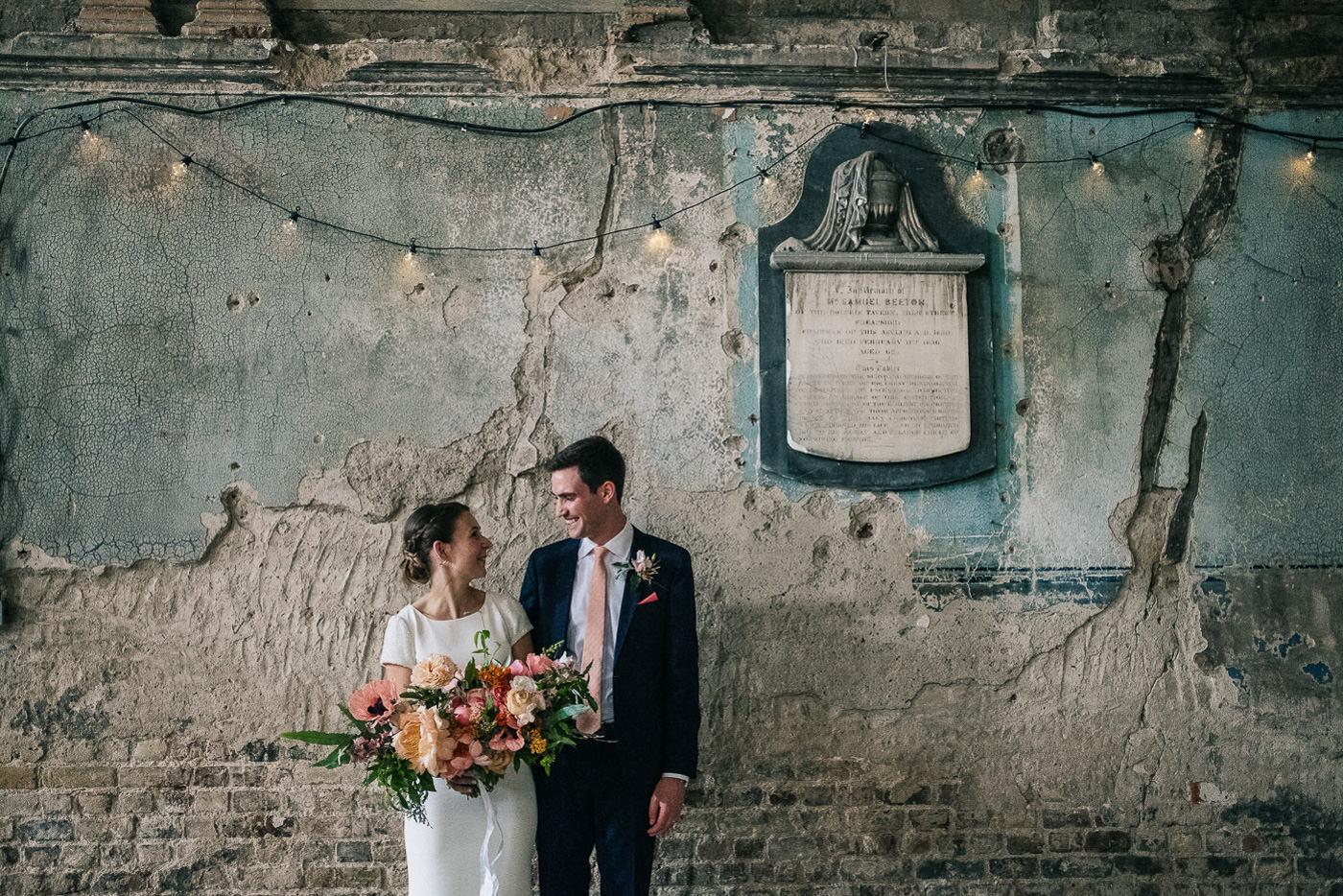 Alternative wedding photographer london couple portrait