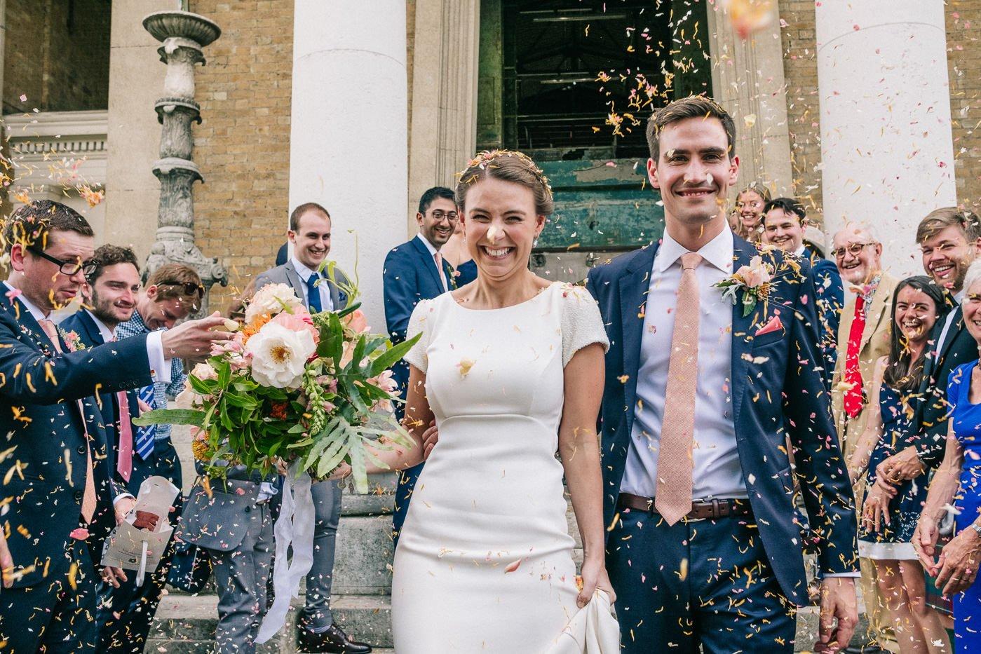 Flower petal confetti asylum chapel wedding photography