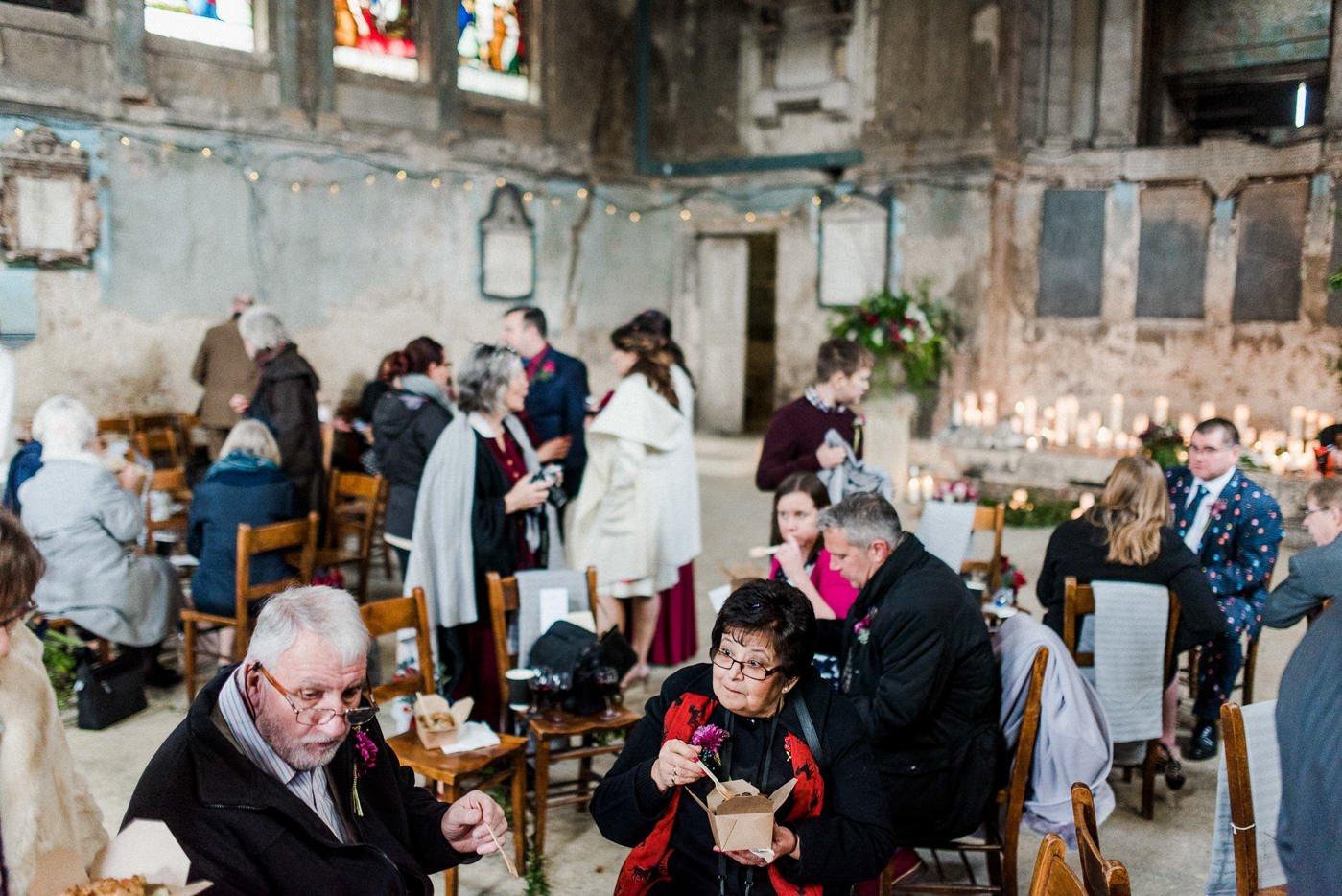 Pie and mash wedding catering Asylum Chapel