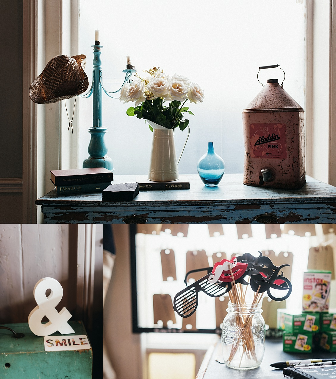 Photo Booth props and flowers at gay wedding The Roost Dalston wedding - quirky London wedding photographer © Babb Photo