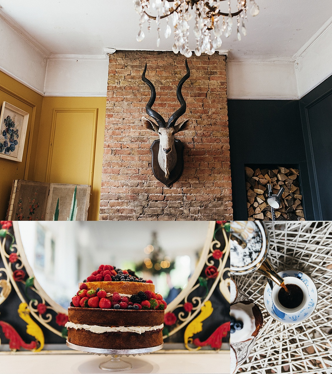 Stag head mounted at the Roost, naked wedding cake with strawberries - gay wedding The Roost Dalston wedding - quirky London wedding photographer © Babb Photo