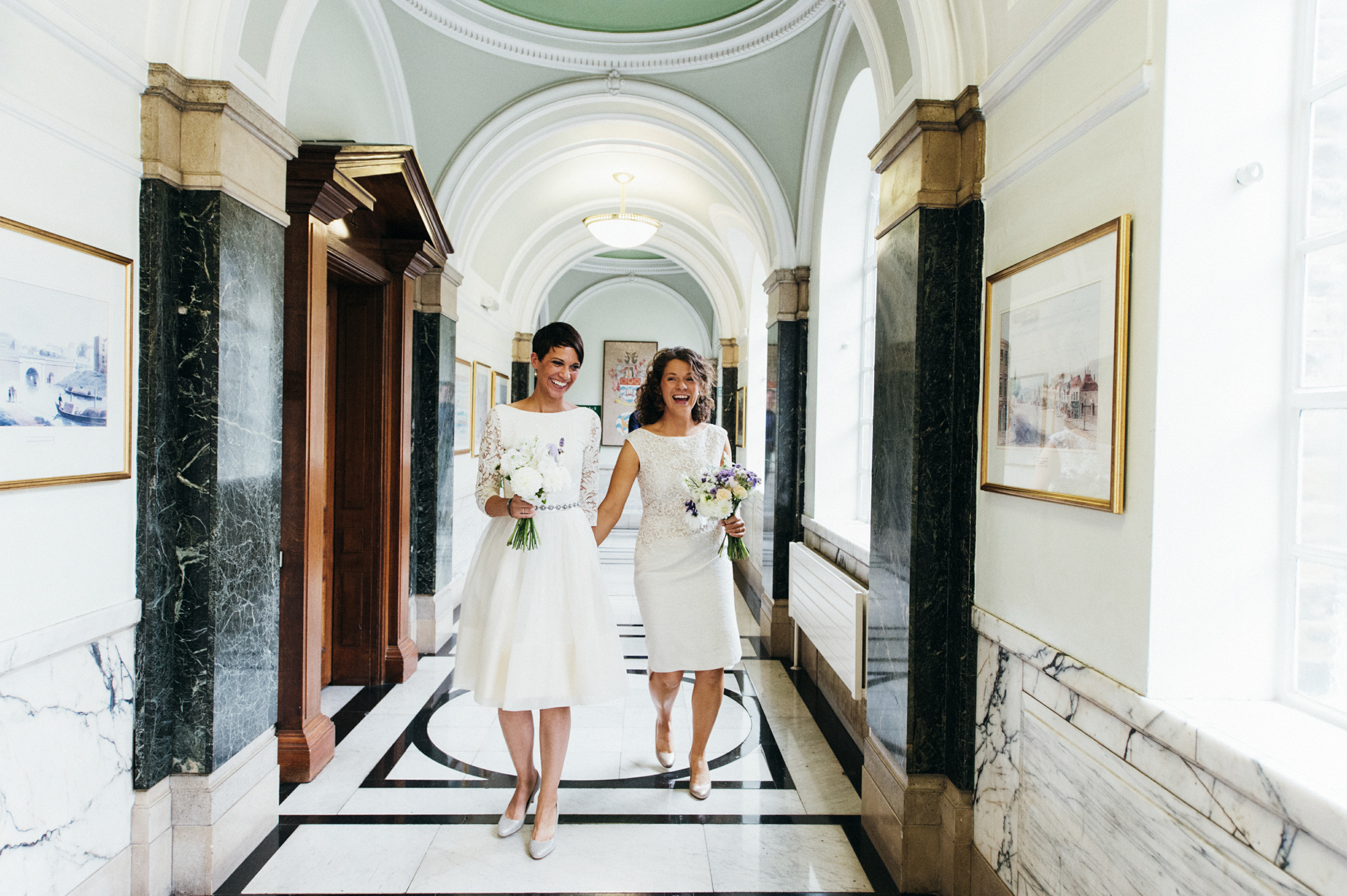 Just married - lesbian brides - gay wedding The Roost Dalston wedding - quirky London wedding photographer © Babb Photo