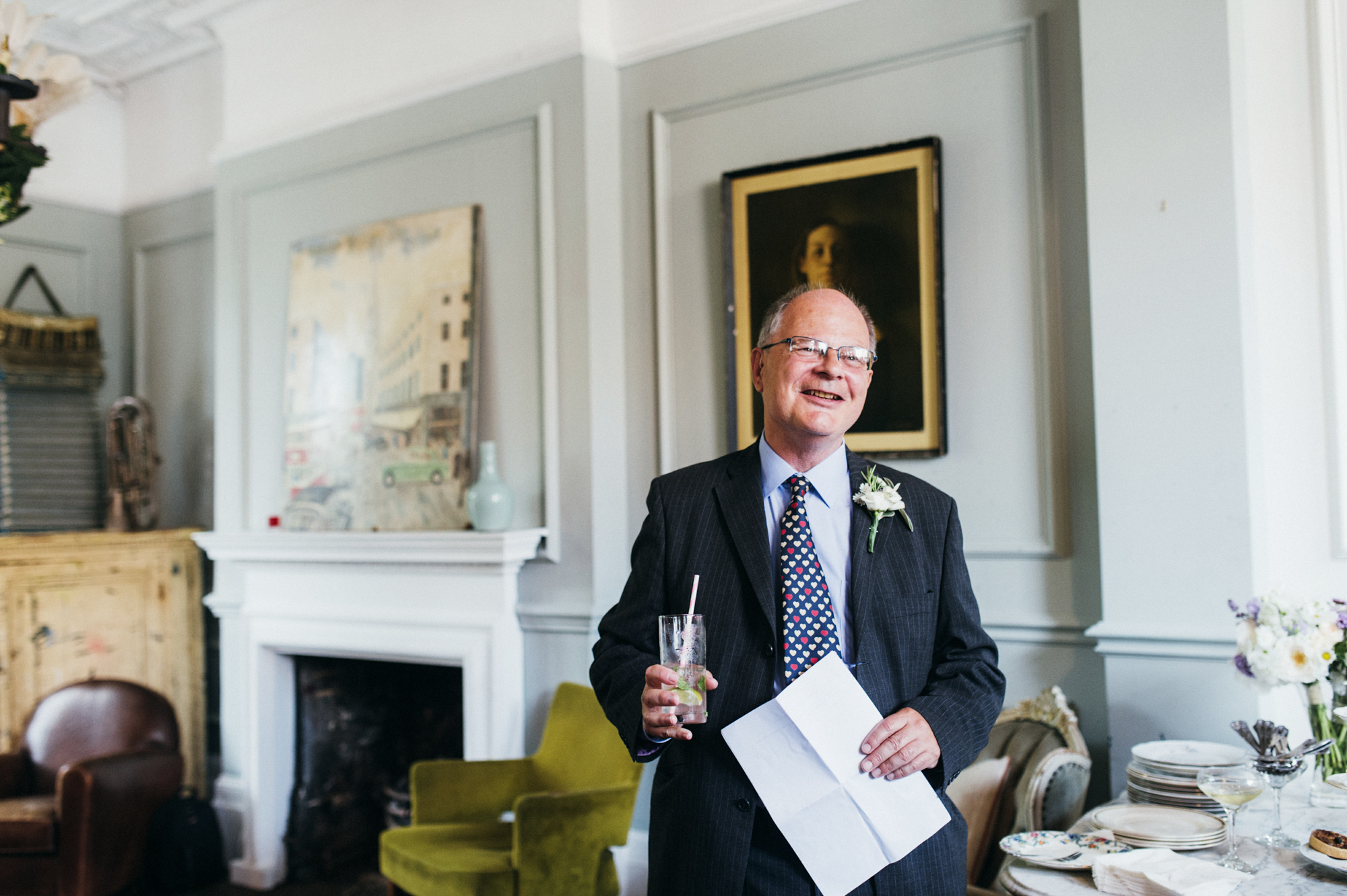 Father of the bride giving speech at gay wedding The Roost Dalston wedding - quirky London wedding photographer © Babb Photo