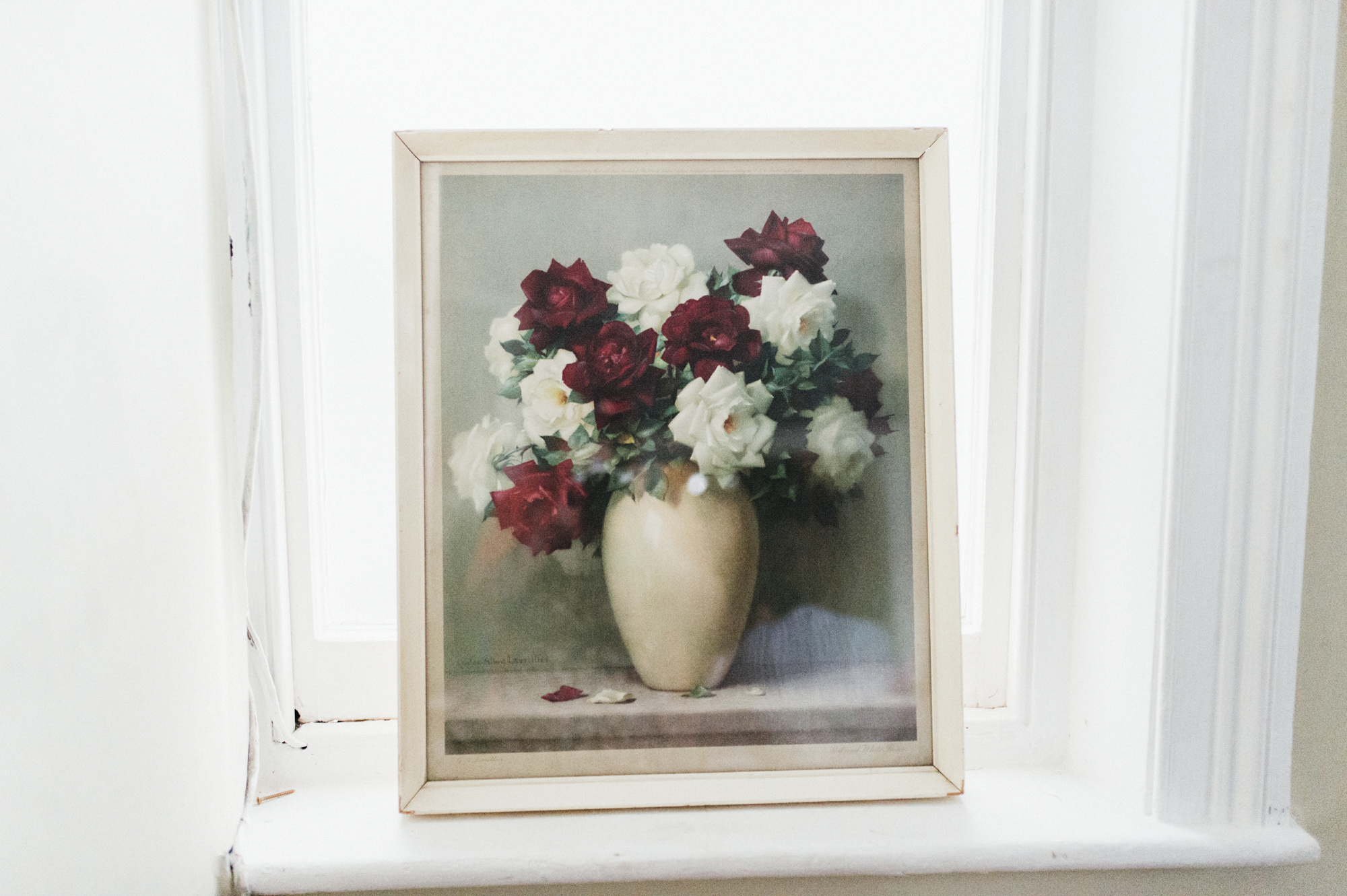 Framed picture of red and white flowers at the Roost Dalston - quirky creative gay friendly wedding photographer The Roost Dalston London wedding photographer © Babb Photo