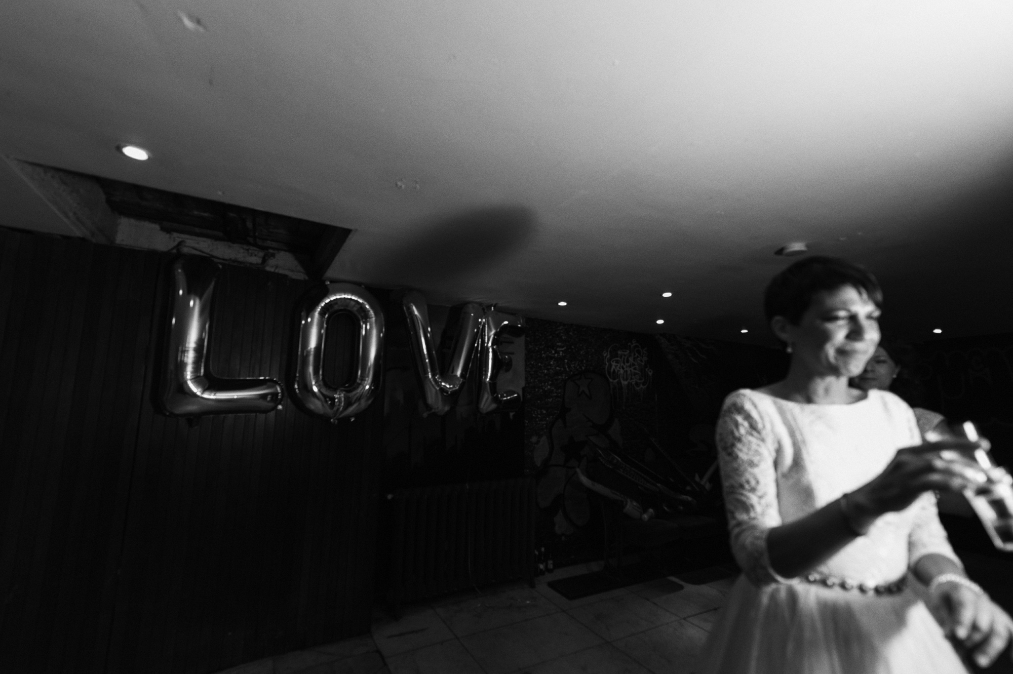Love helium balloons at same sex wedding - quirky creative gay friendly wedding photographer The Roost Dalston London wedding photographer © Babb Photo