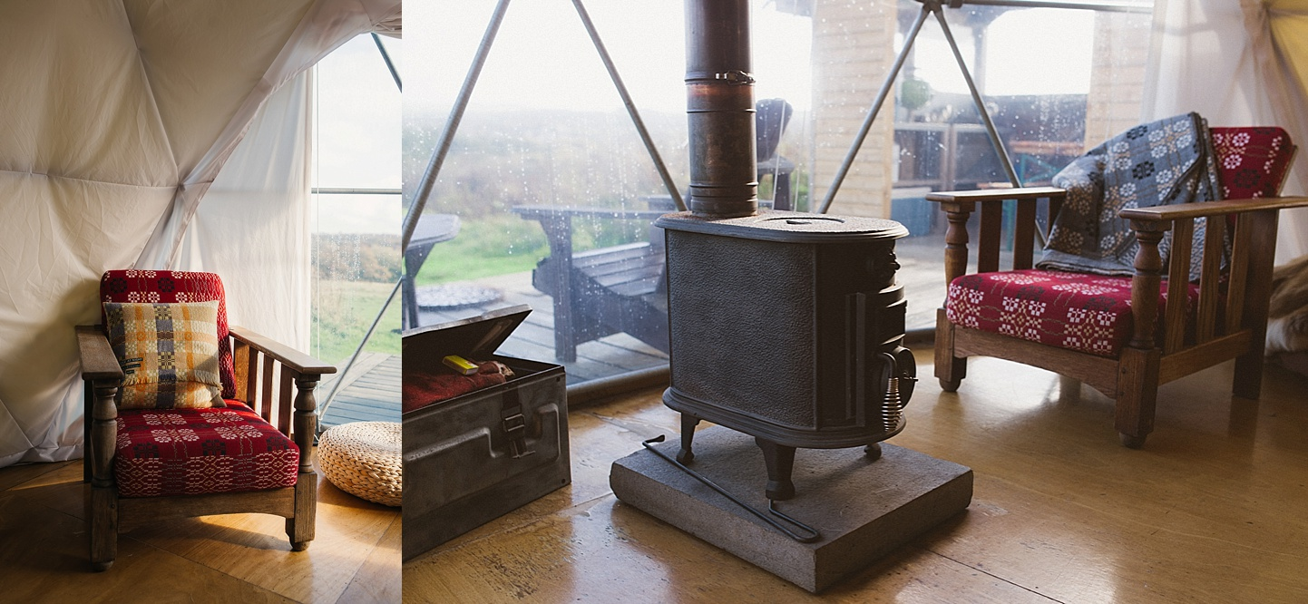 Wood burning stoves and beautiful domes - rustic camping wedding venue - Fforest wedding photography - Wales alternative wedding photography (c) Babb Photo - alternative wedding photographer