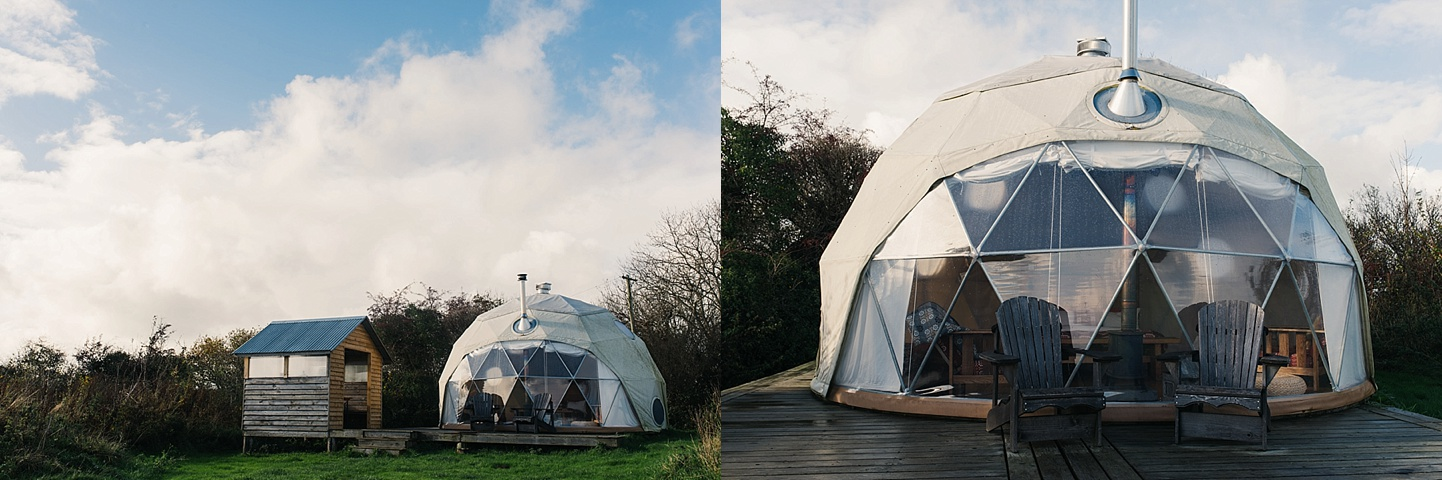 Beautiful domes with wood burners - rustic glamping wedding venue - Fforest wedding photography - Wales alternative wedding photography (c) Babb Photo - alternative wedding photographer
