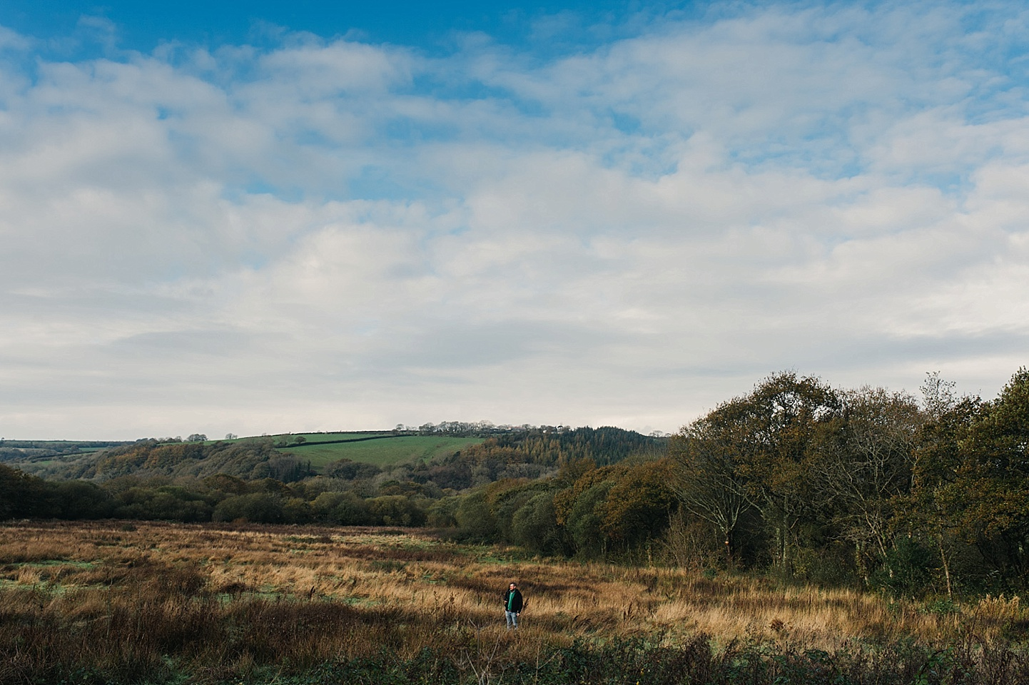Beautiful blue skies over Welsh countryside - Fforest wedding photography - rustic camping wedding - Wales alternative wedding photography (c) Babb Photo - alternative wedding photographer