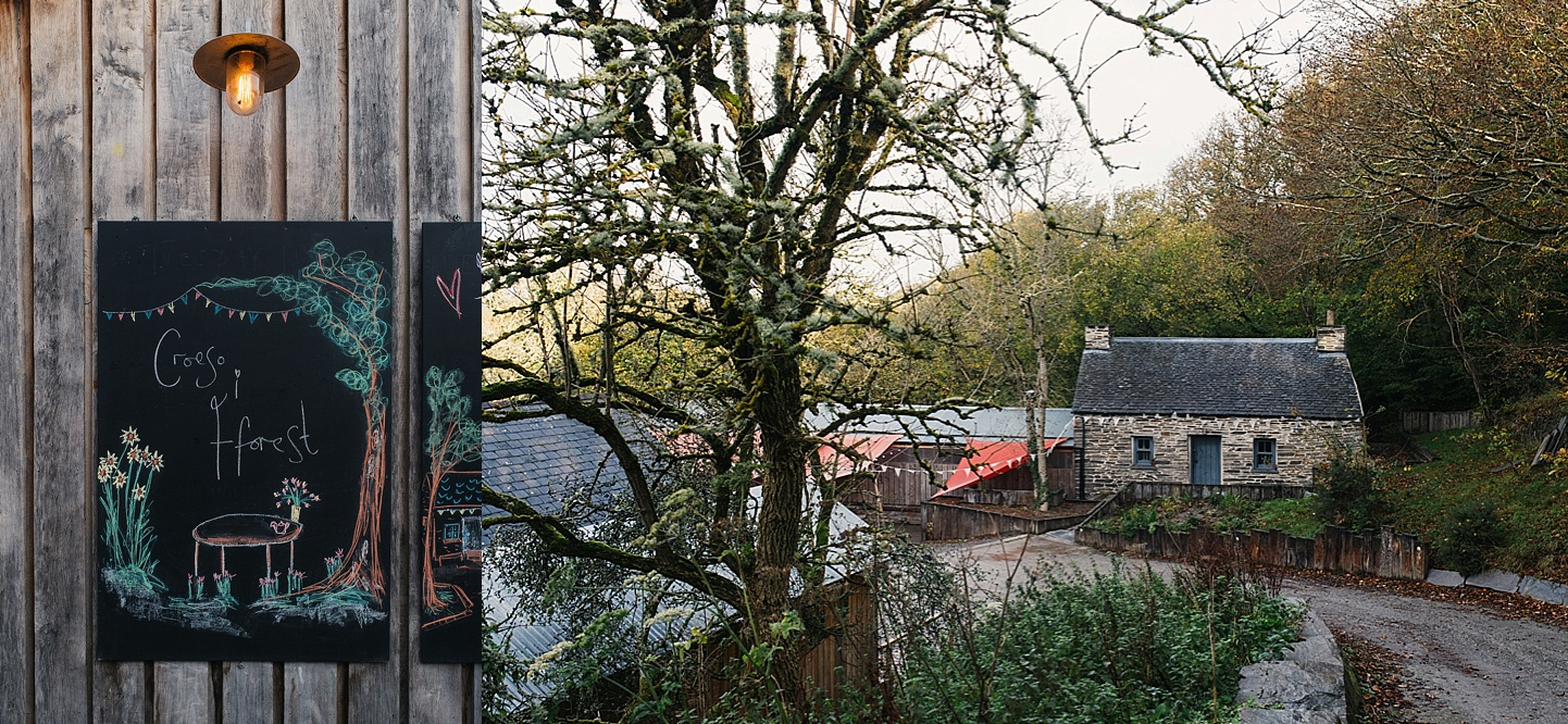 Rustic wedding venue with chalkboards homemade bunting in Welsh countryside - Fforest wedding photography - Wales alternative wedding photography (c) Babb Photo - alternative wedding photographer