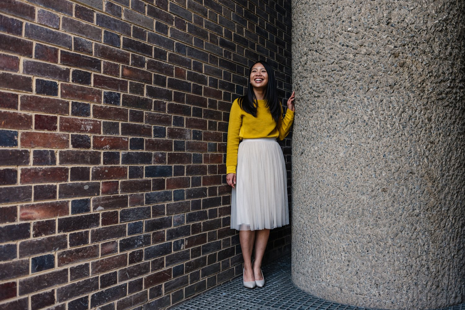 Fiancee smiling Barbican Estate London