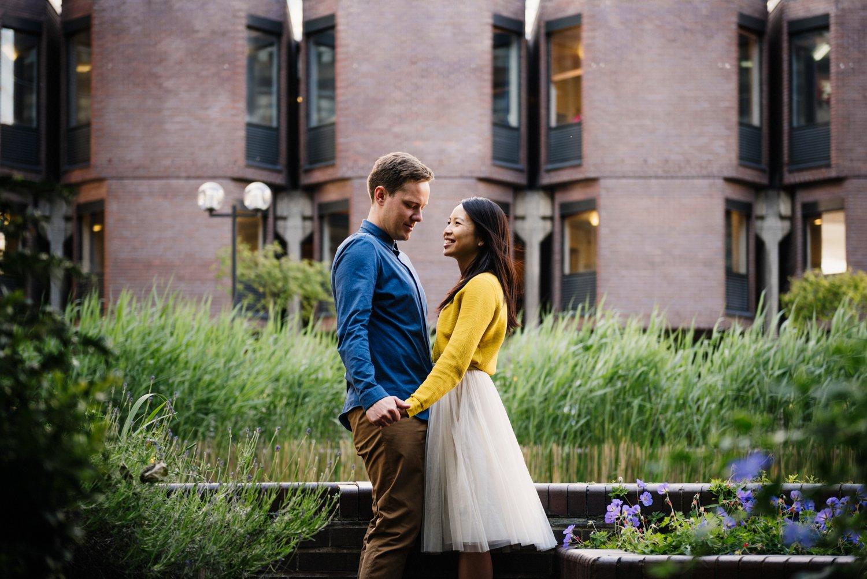 Engaged couple smiling BABB photo London