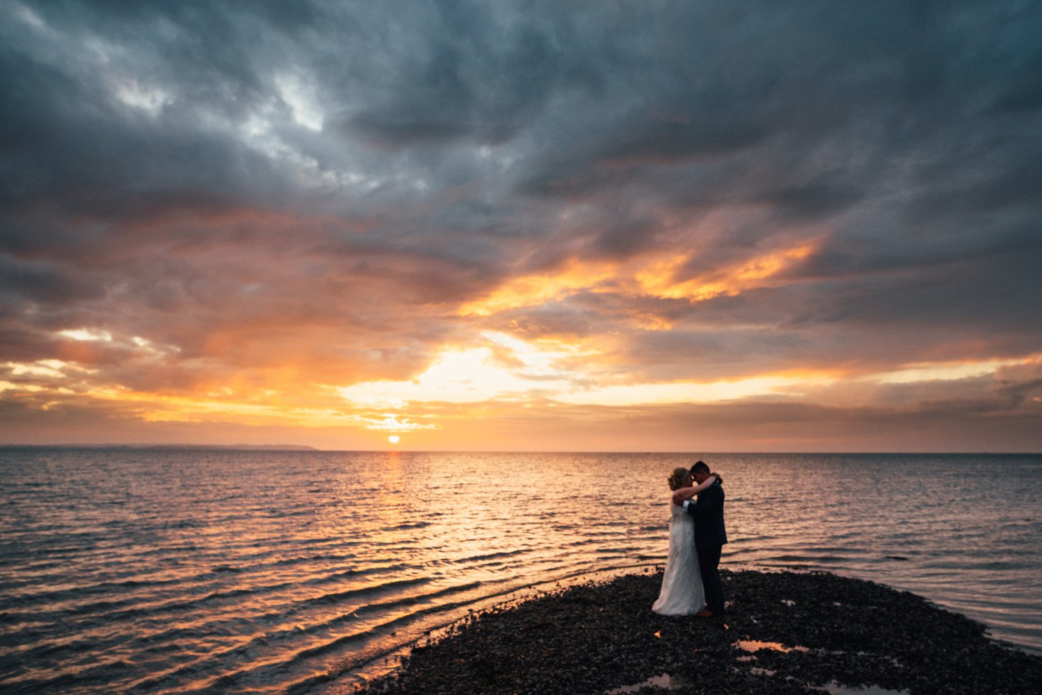 Dramatic Whitstable wedding portrait