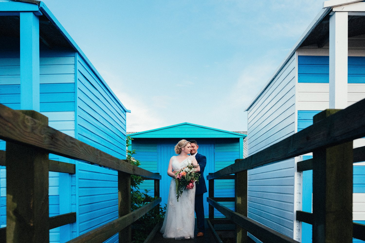 Creative beach hut wedding potrait