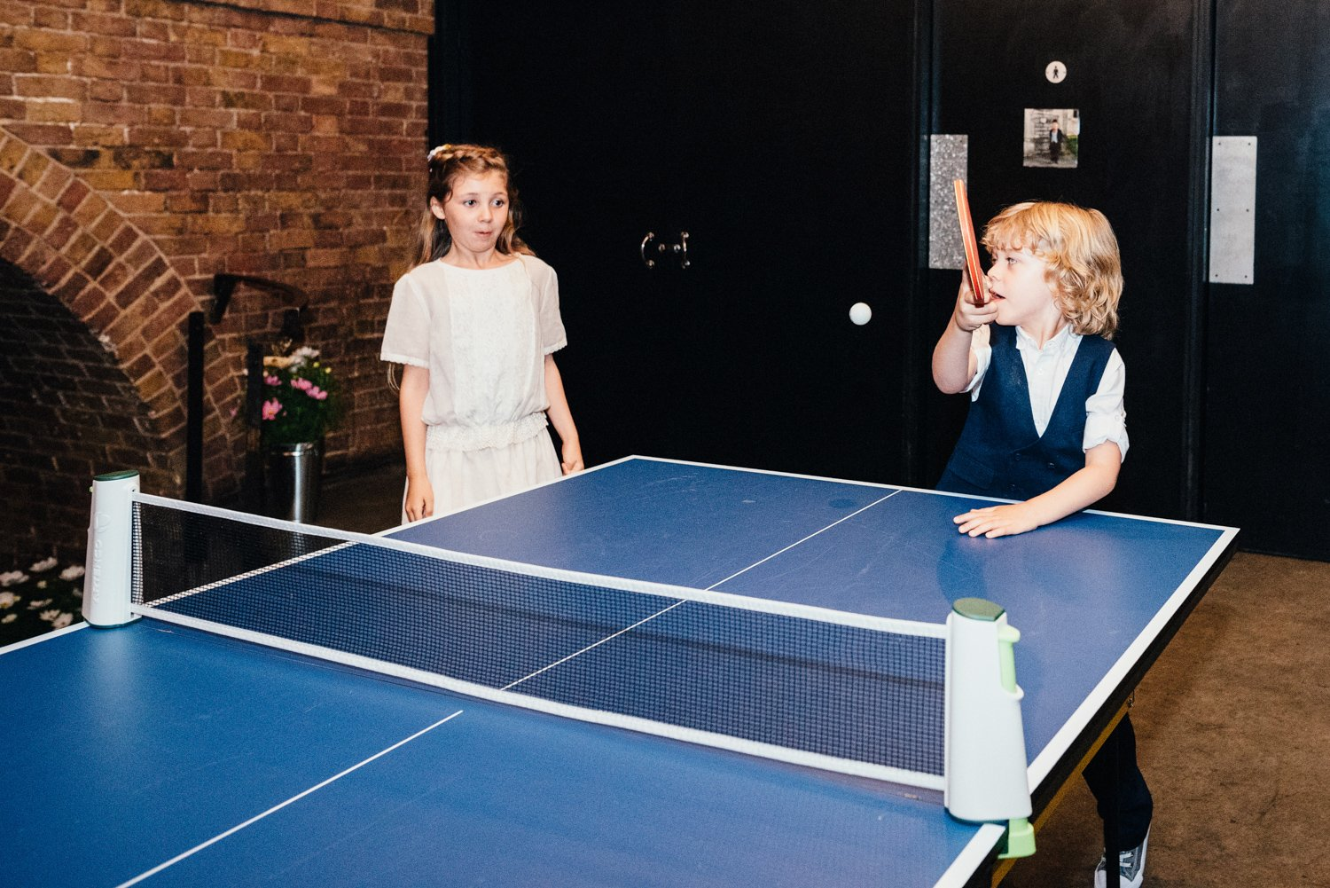 Table tennis at Shoreditch wedding