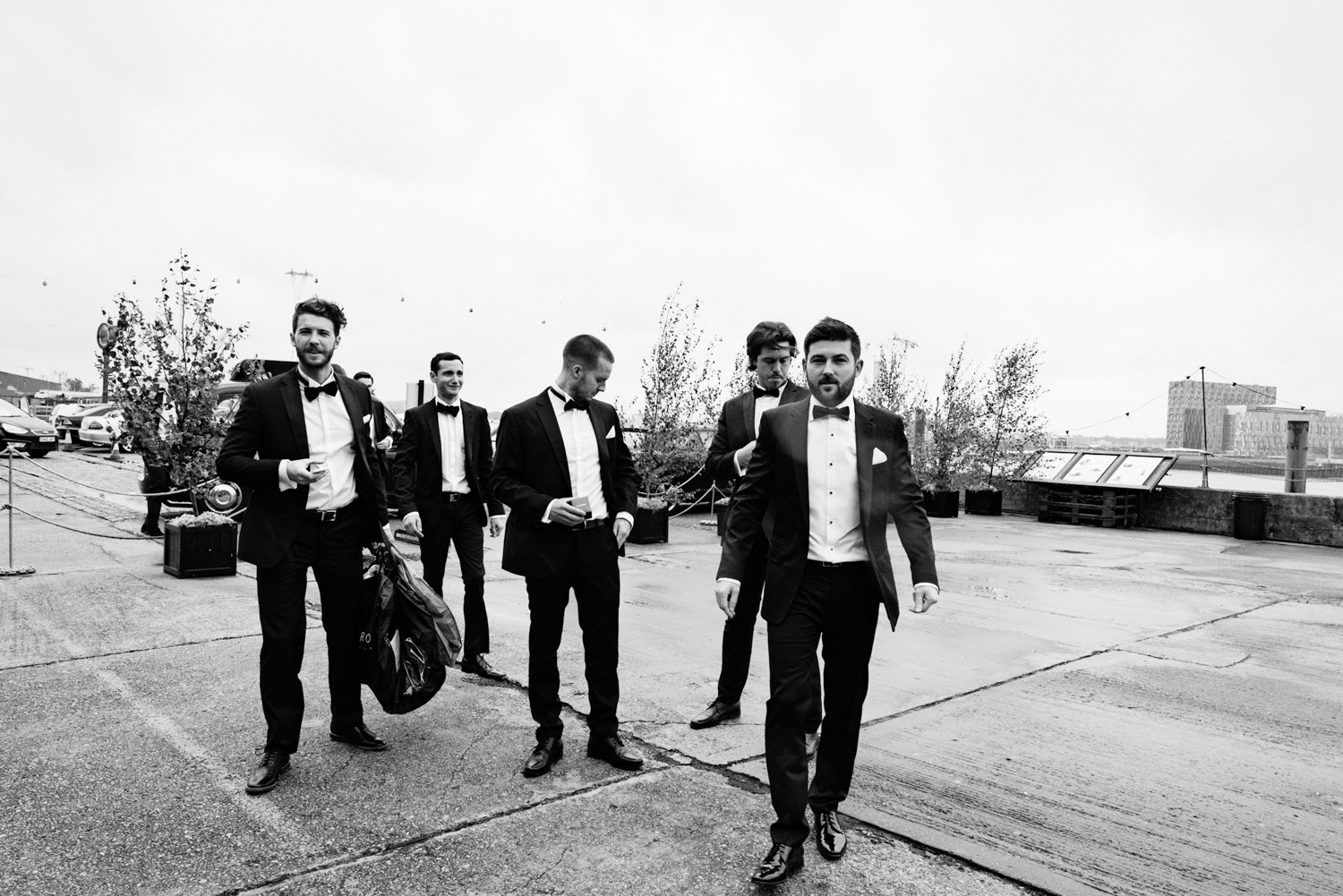 Groom and groomsmen in black tie London
