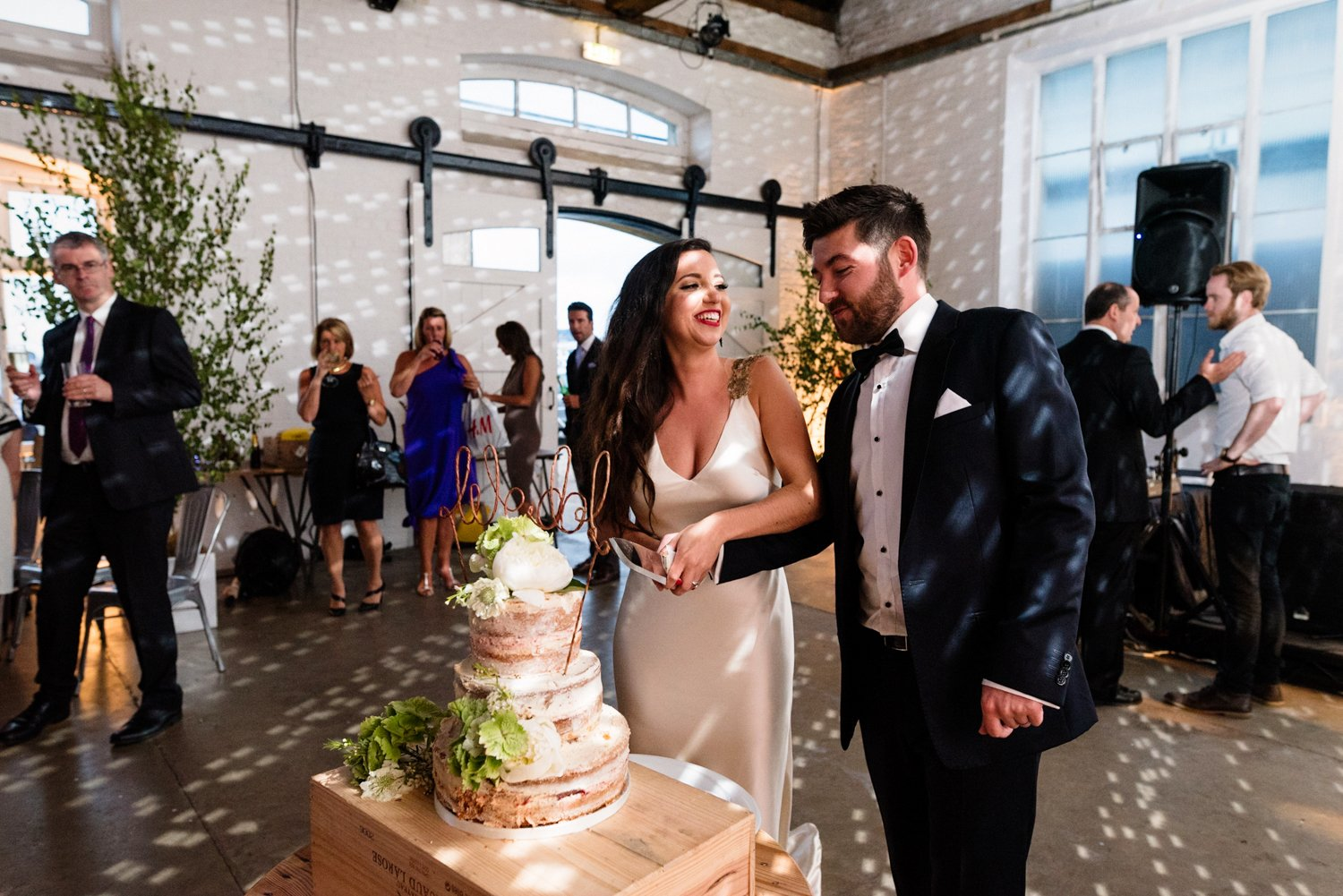 Naked cake glamorous wedding London