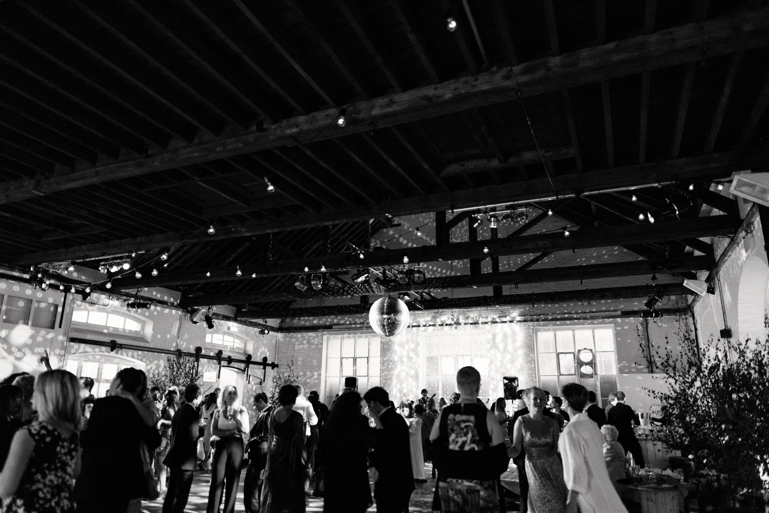 Glam warehouse wedding party