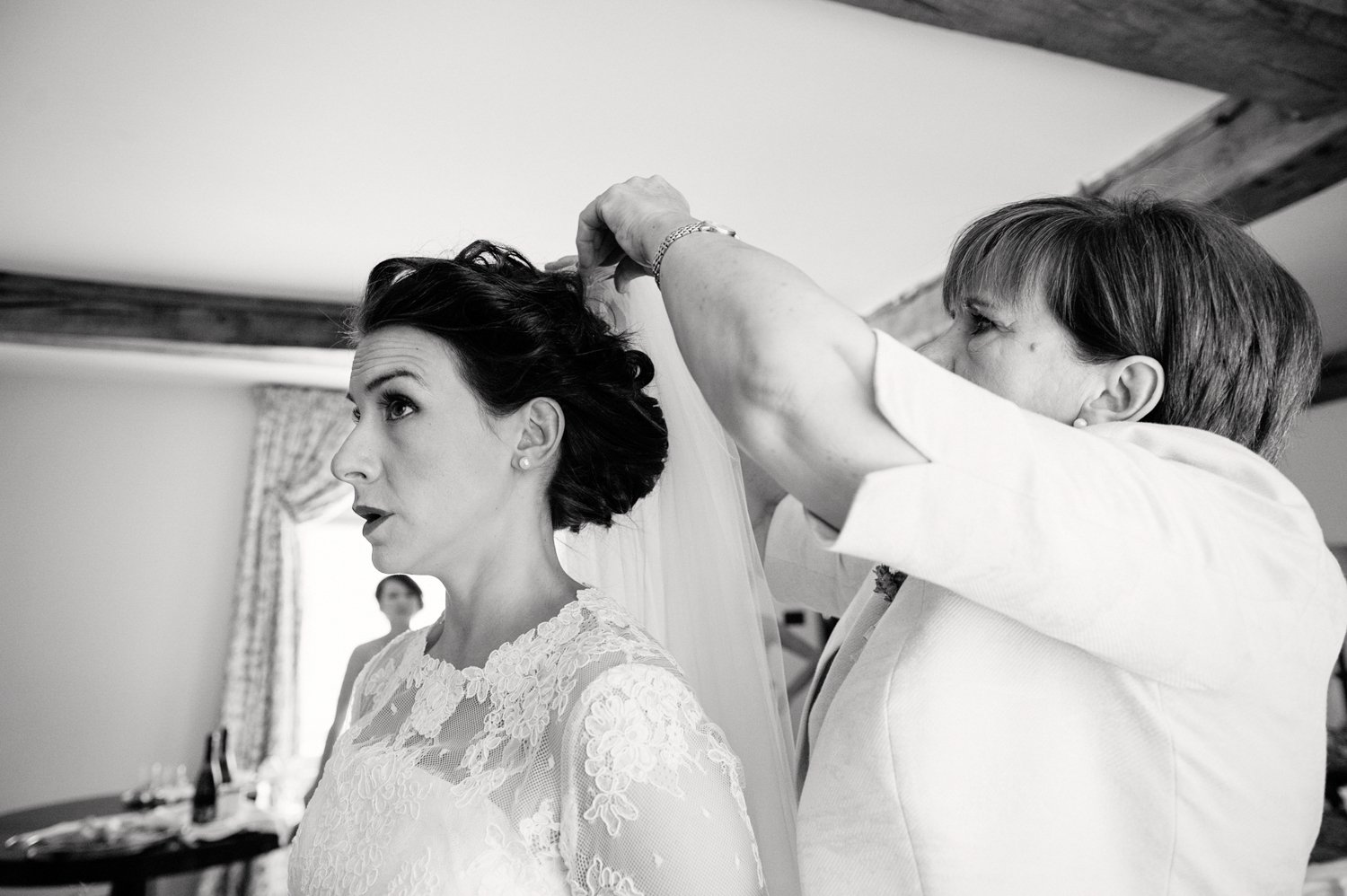 Pinning the veil Herefordshire wedding