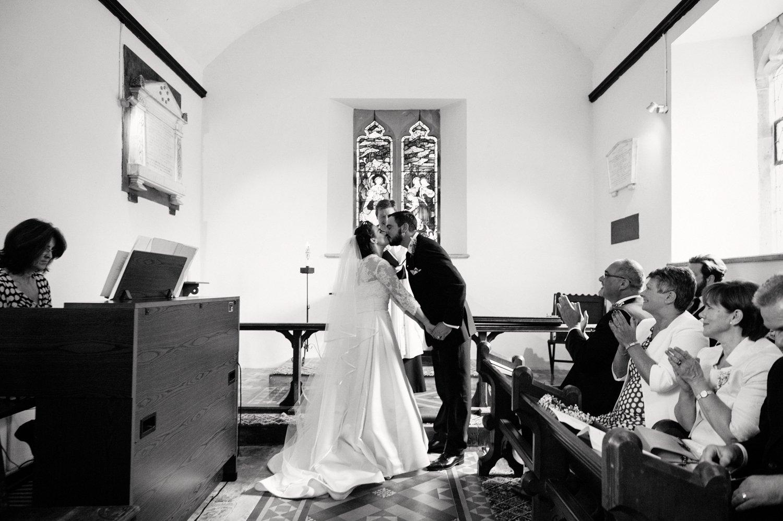 Bride & Groom kiss Herefordshire weding