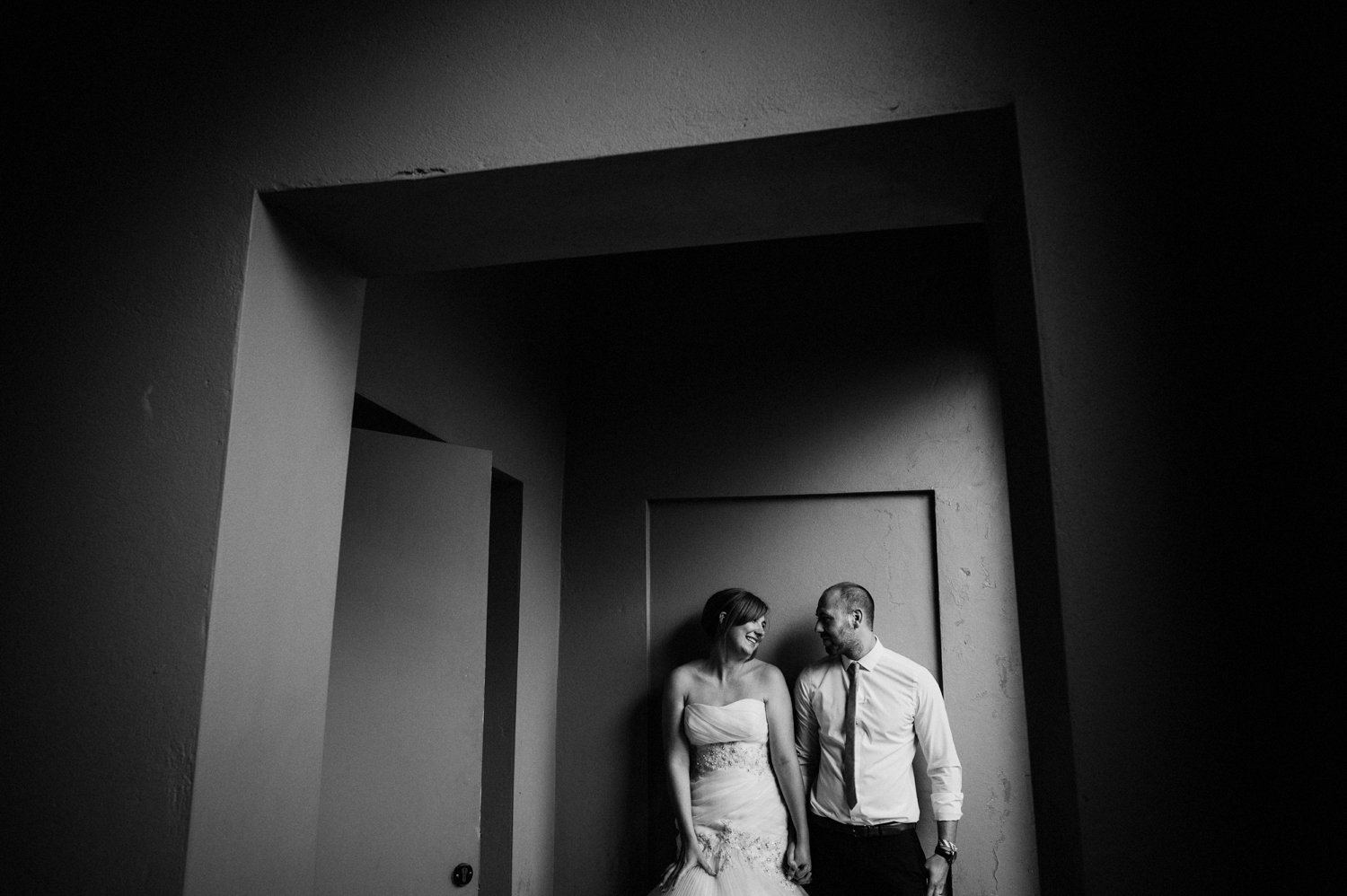 moody portrait of a bride and groom at fazeley studios