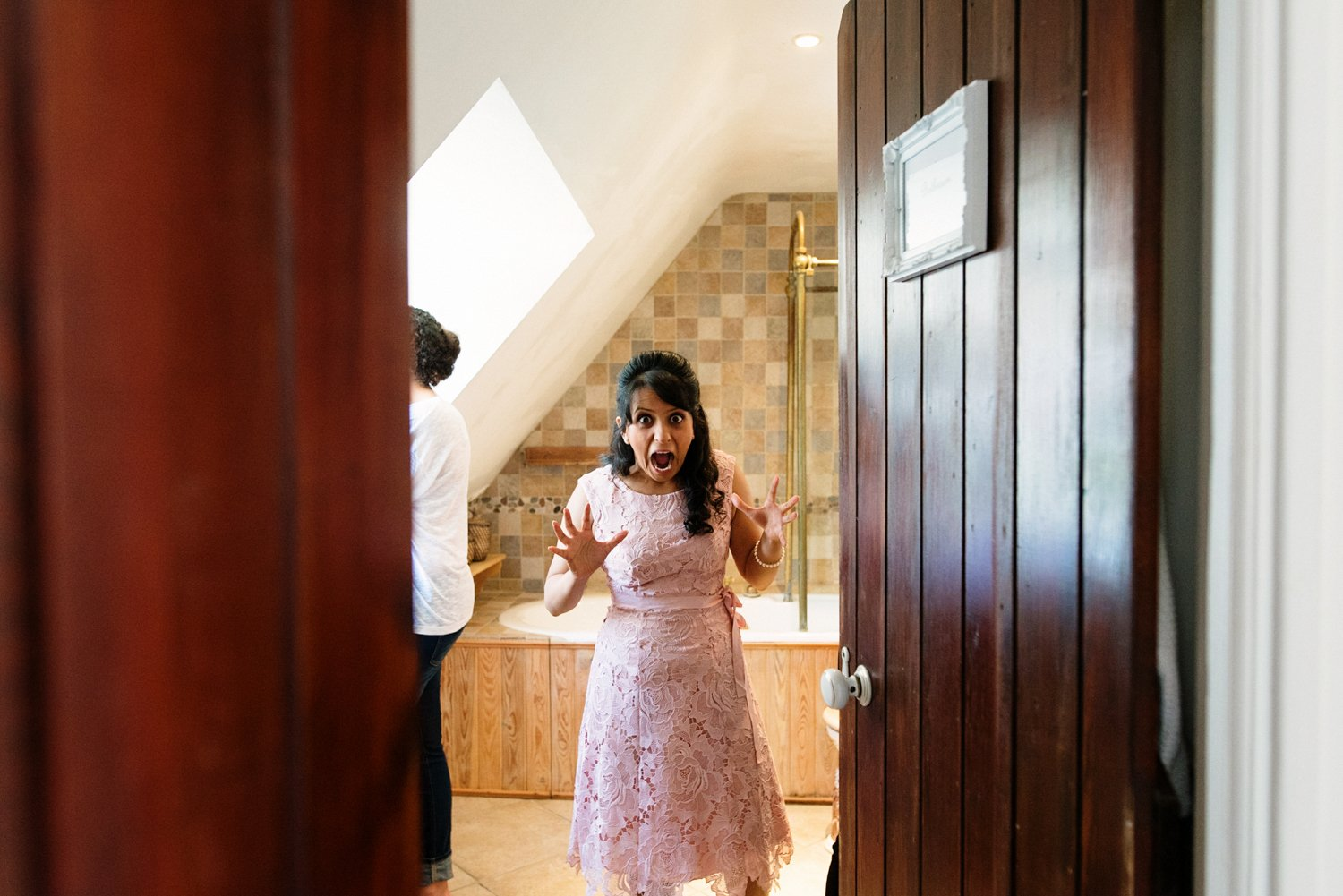 Bridesmaid freaking out Old Luxters Barn Wedding Photography