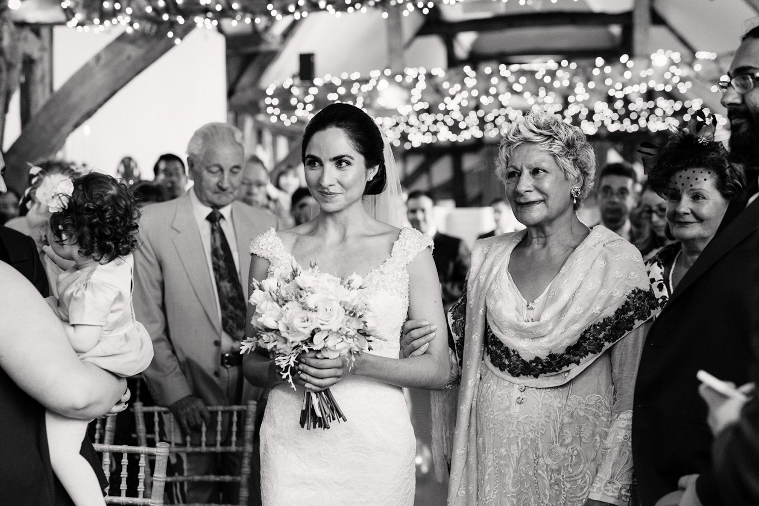 Bride being given away by mum at Old Luxters Barn