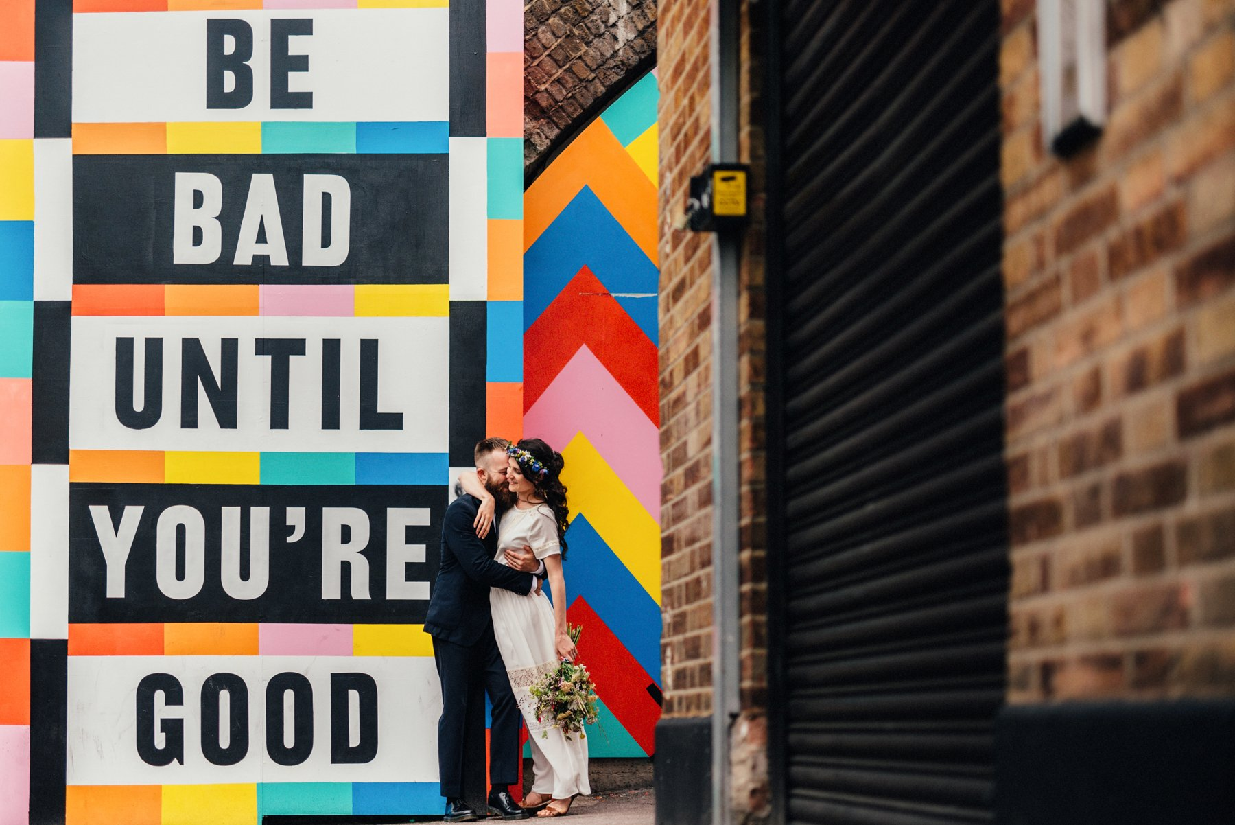 Fun Shoreditch wedding portrait