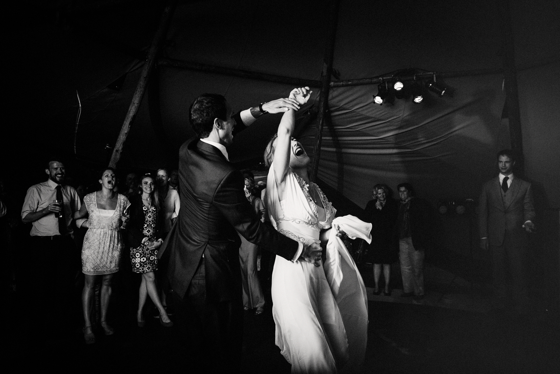 First dance at Wiltshire Tipi Wedding