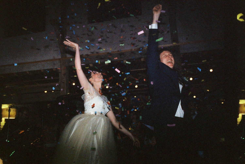 Creative confetti wedding photography