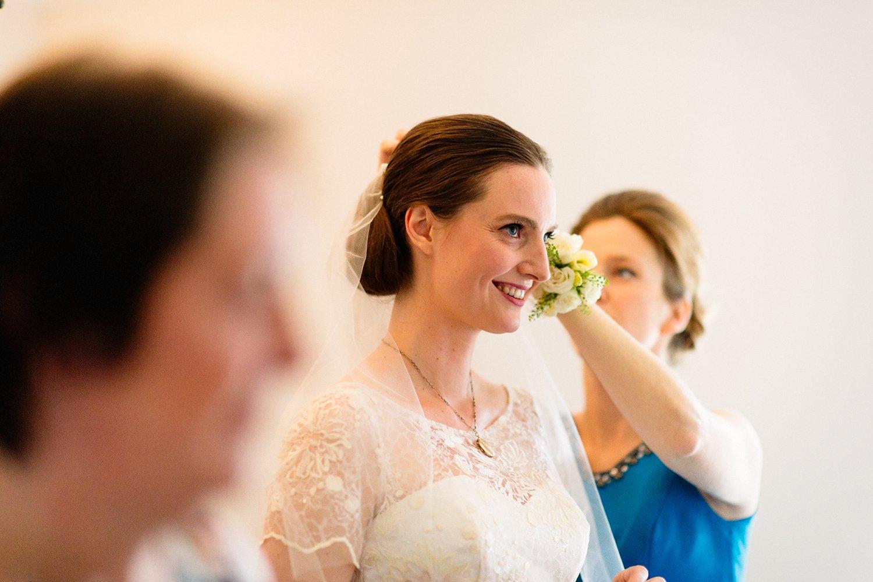 Smiling bride wearing Rachel Simpson veil pre-wedding
