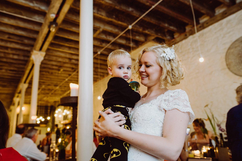 Phase Eight bride with cute boy Scotland wedding