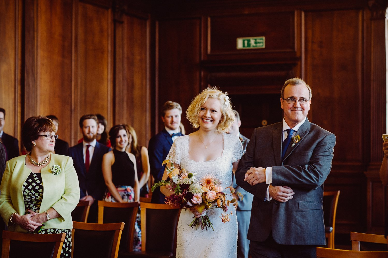 Phase Eight bride walks the aisle with Father Scotland wedding
