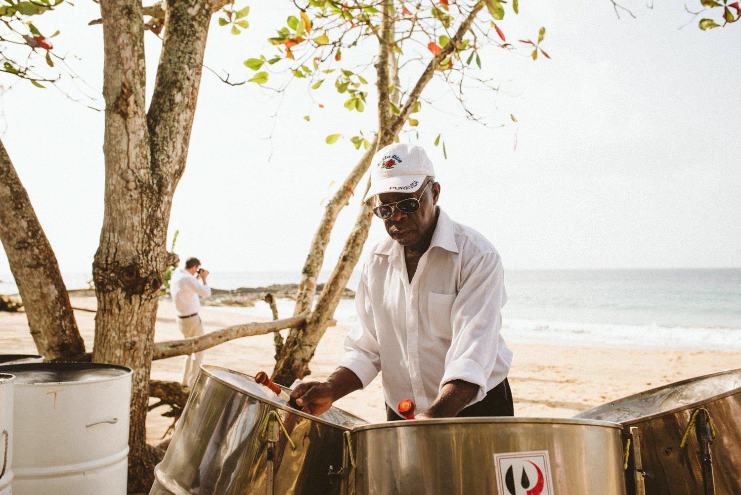 Steel drums at alternative destination wedding Tobago