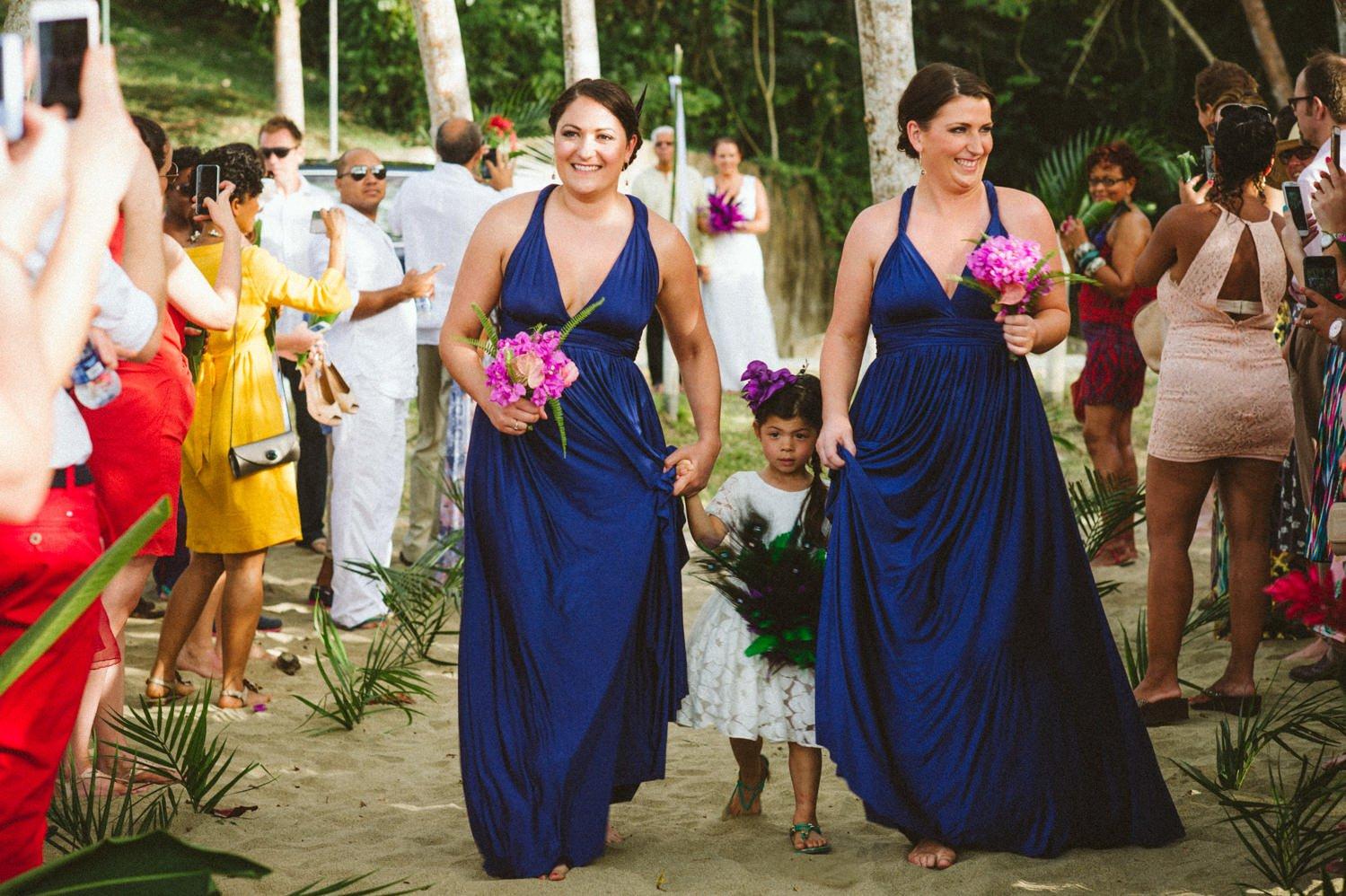Navy blue bridesmaids destination wedding Tobago