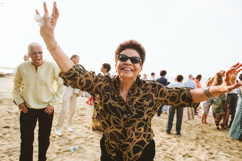 Smiling lady at destination wedding Tobago