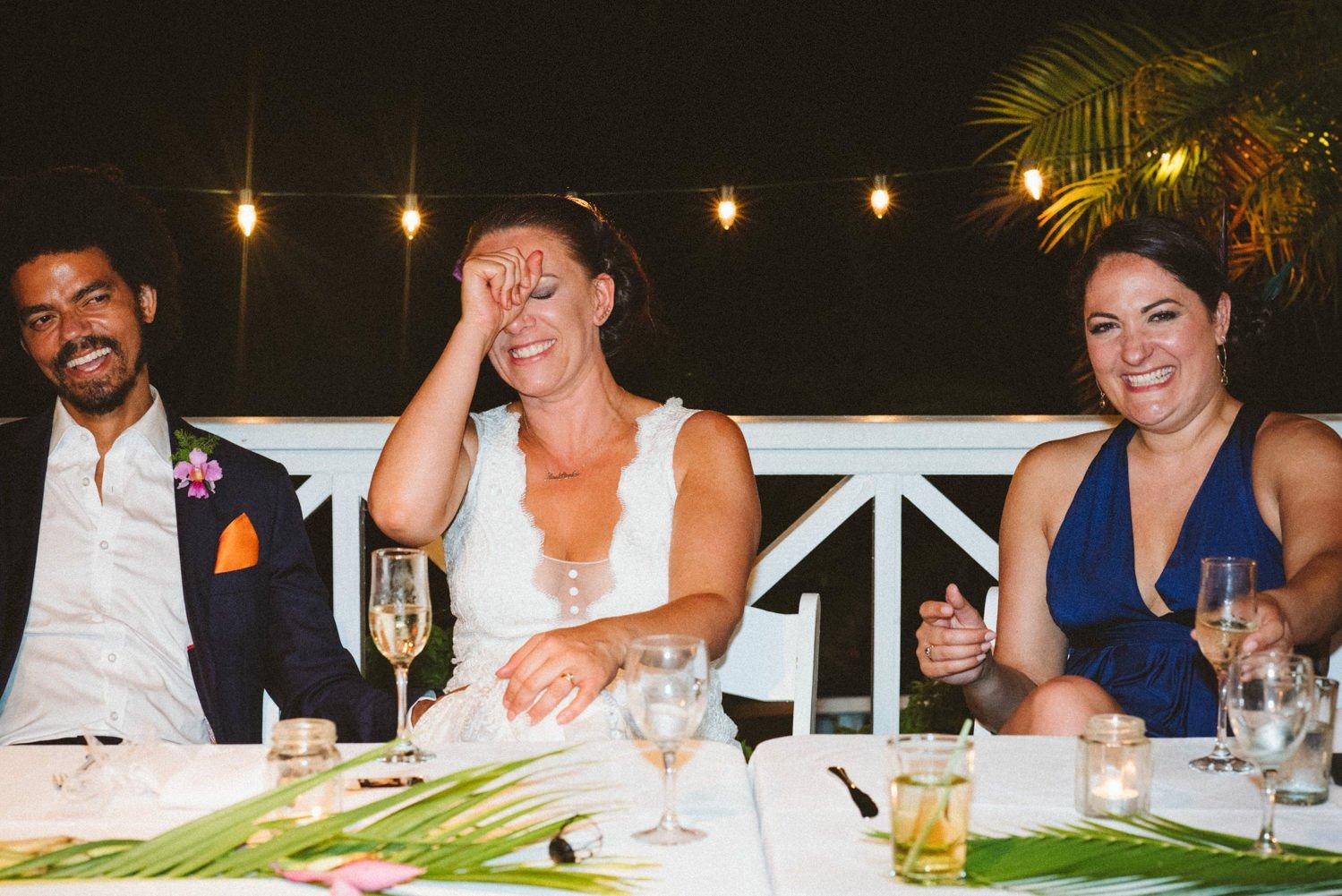 Fun reactions to speeches Tobago wedding Babb Photo