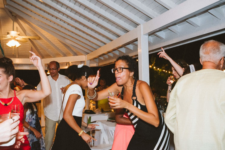 Fun dancing at lively destination wedding Tobago