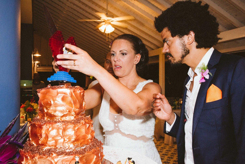 Colourful wedding cake at lively destination wedding Tobago