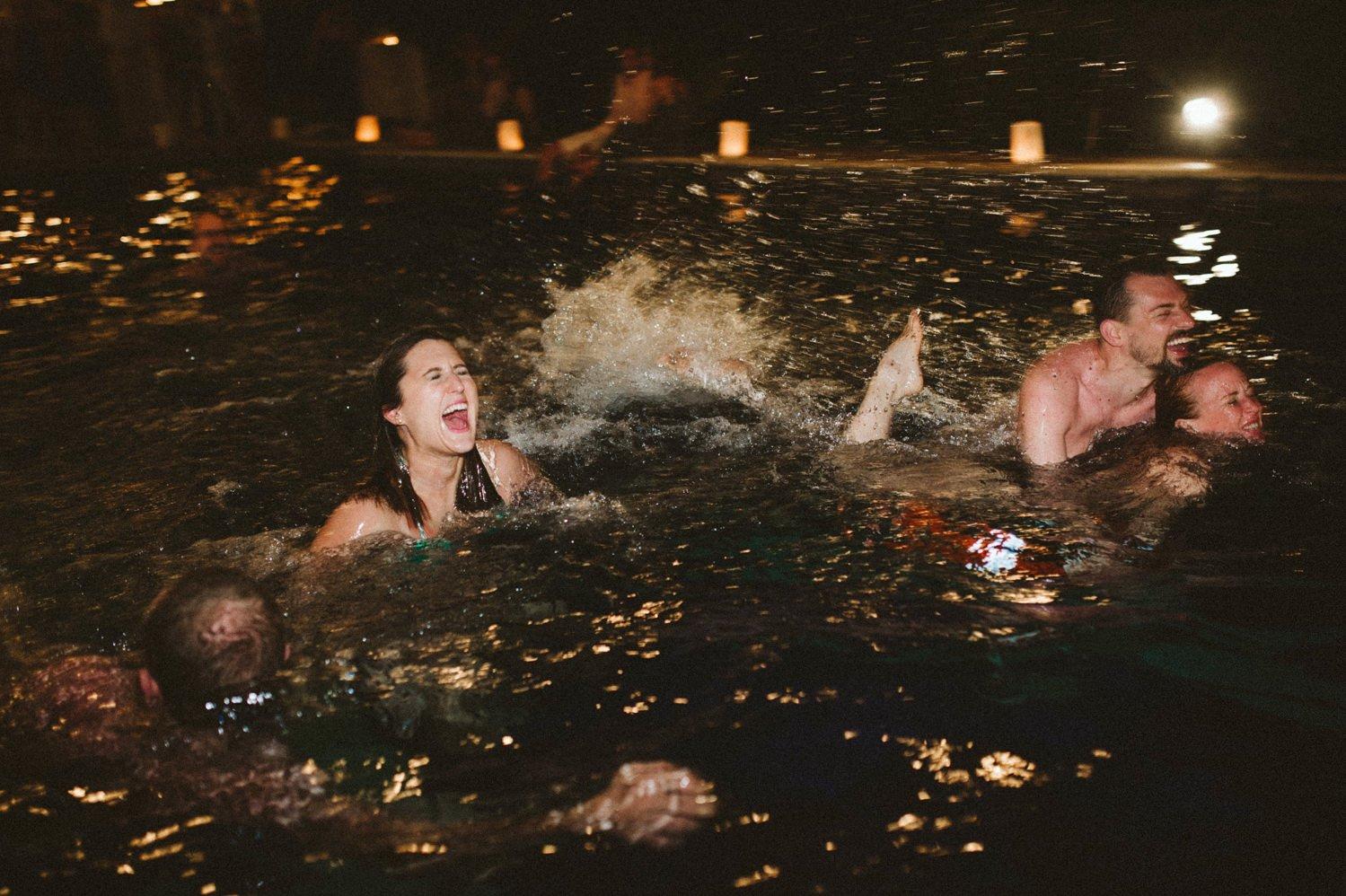Midnight swimming Tobago wedding photography