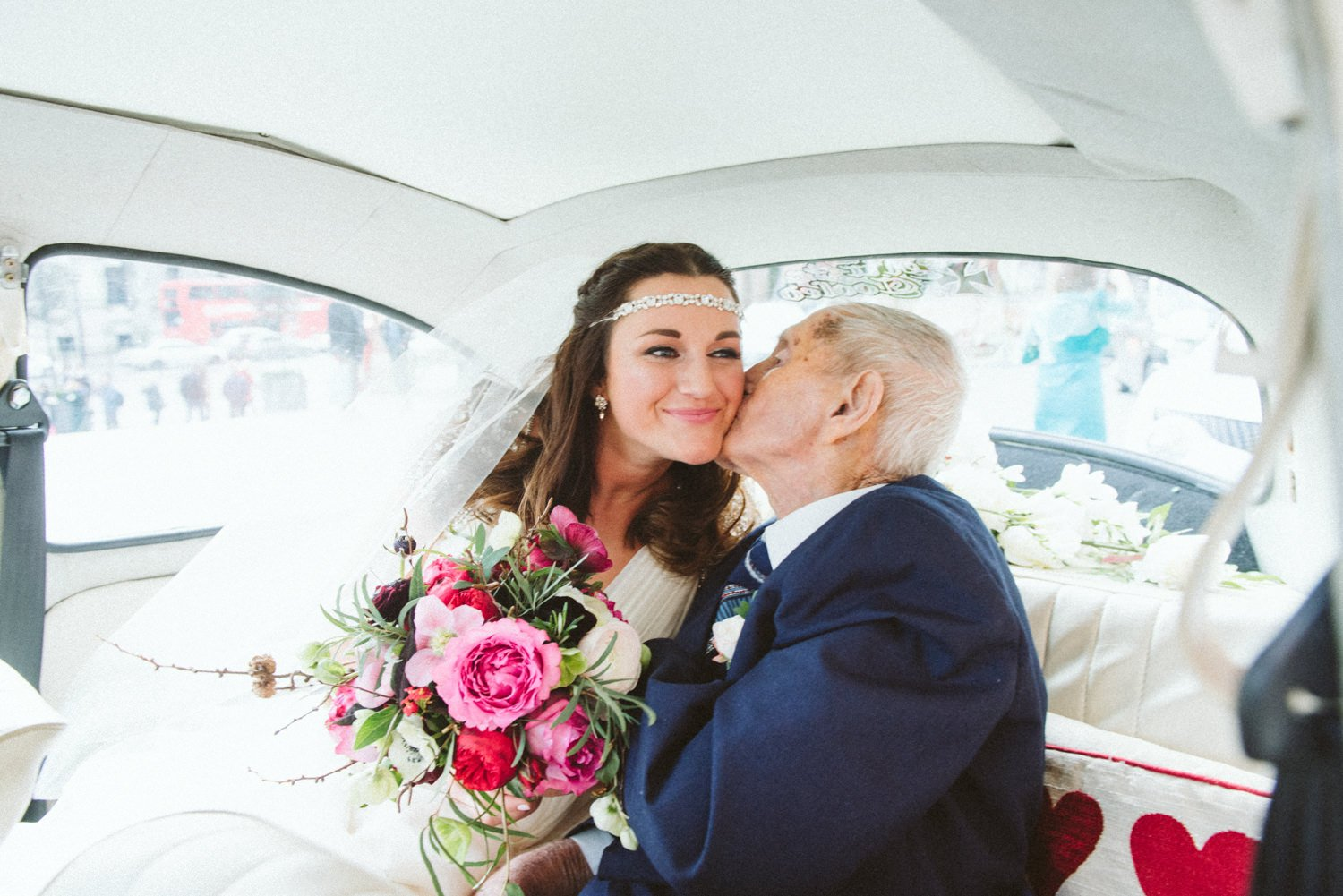 Jenny Packham bride with Father pre-wedding London