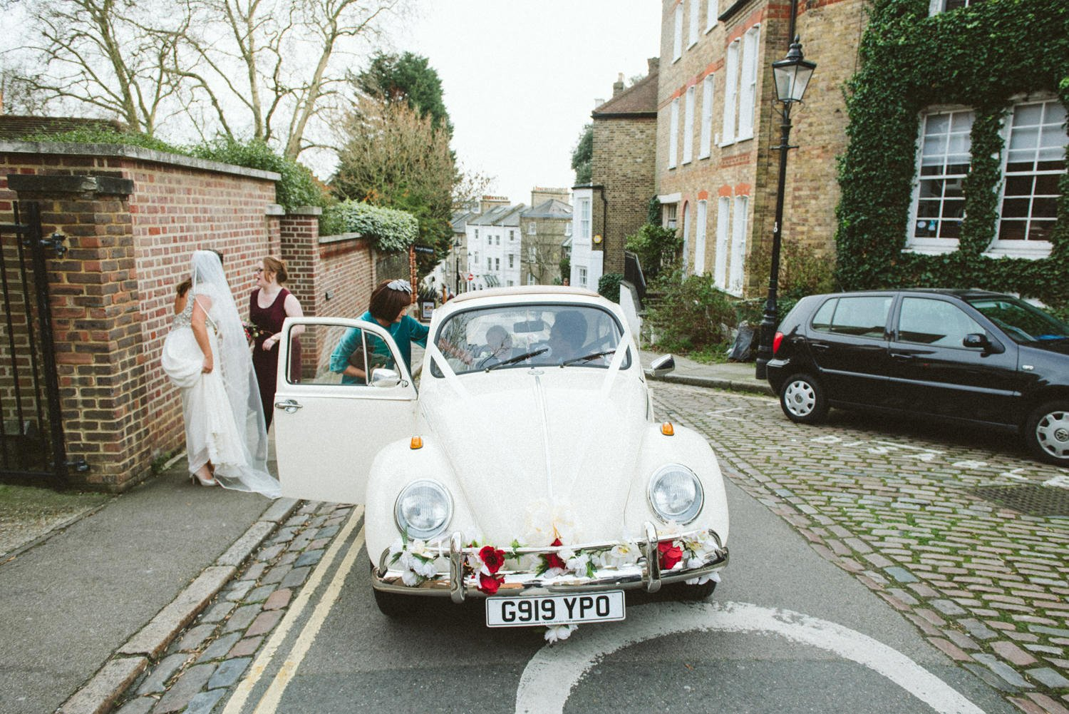 Bride with beatle all dressed pre-wedding London