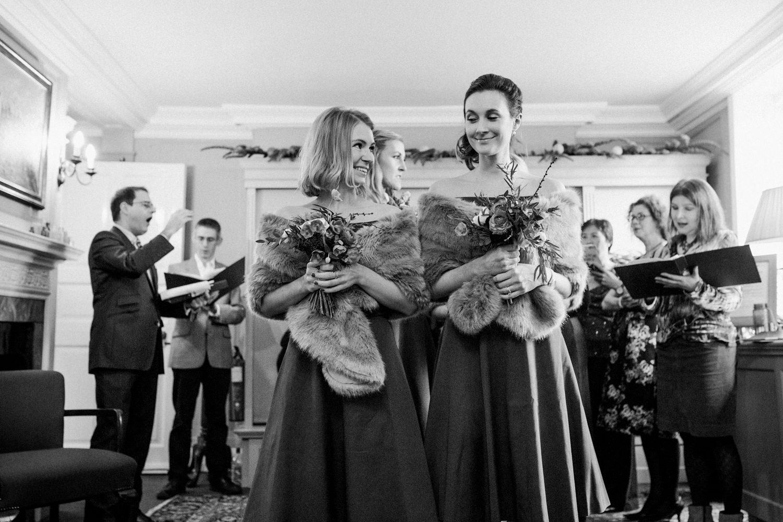 Smiling Phase 8 bridesmaids at Burgh House London