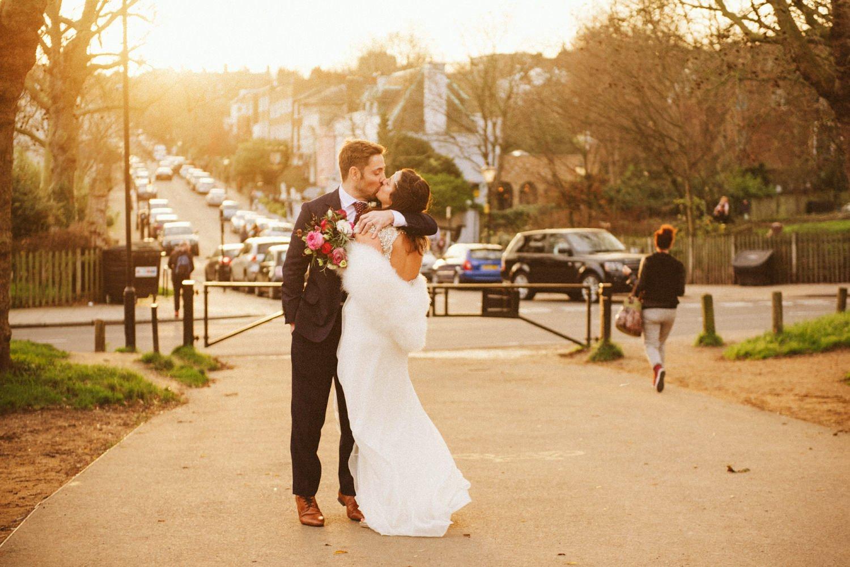 Wedding portrait sunset Stoke Newington