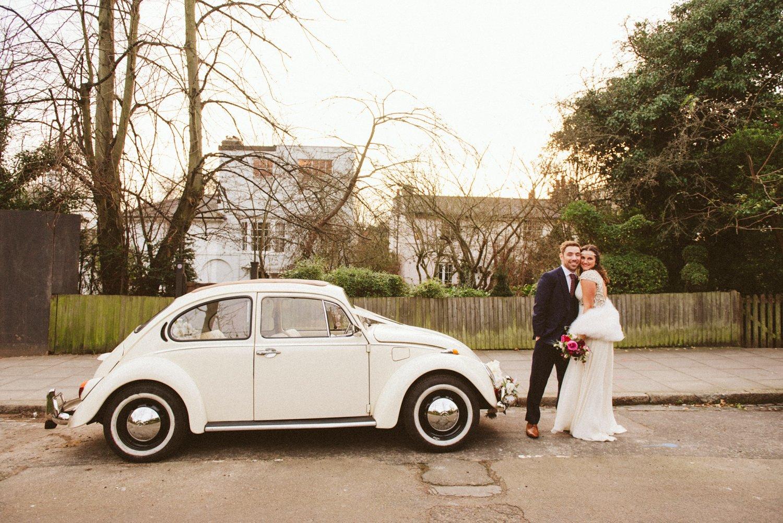 Wedding portrait Stoke Newington with vintage Beatle London